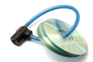 Image of several data CDs locked together with a bicycle lock - depicting electronic data security